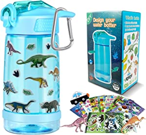 CHERRYLIFE Decorate & Personalize Your Own Water Bottle with Tons of Gem Stickers,Fun DIY Art and Craft Kit for Children,Reusable BPA Free 17 oz Kids Water Bottles, for Boys (Blue)
