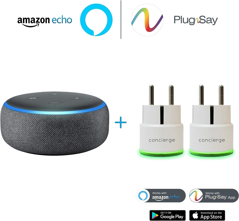 Anthracite Pack  Echo Dot 2 Prises Mini Plug PlugnSay compatibles avec  Alexa