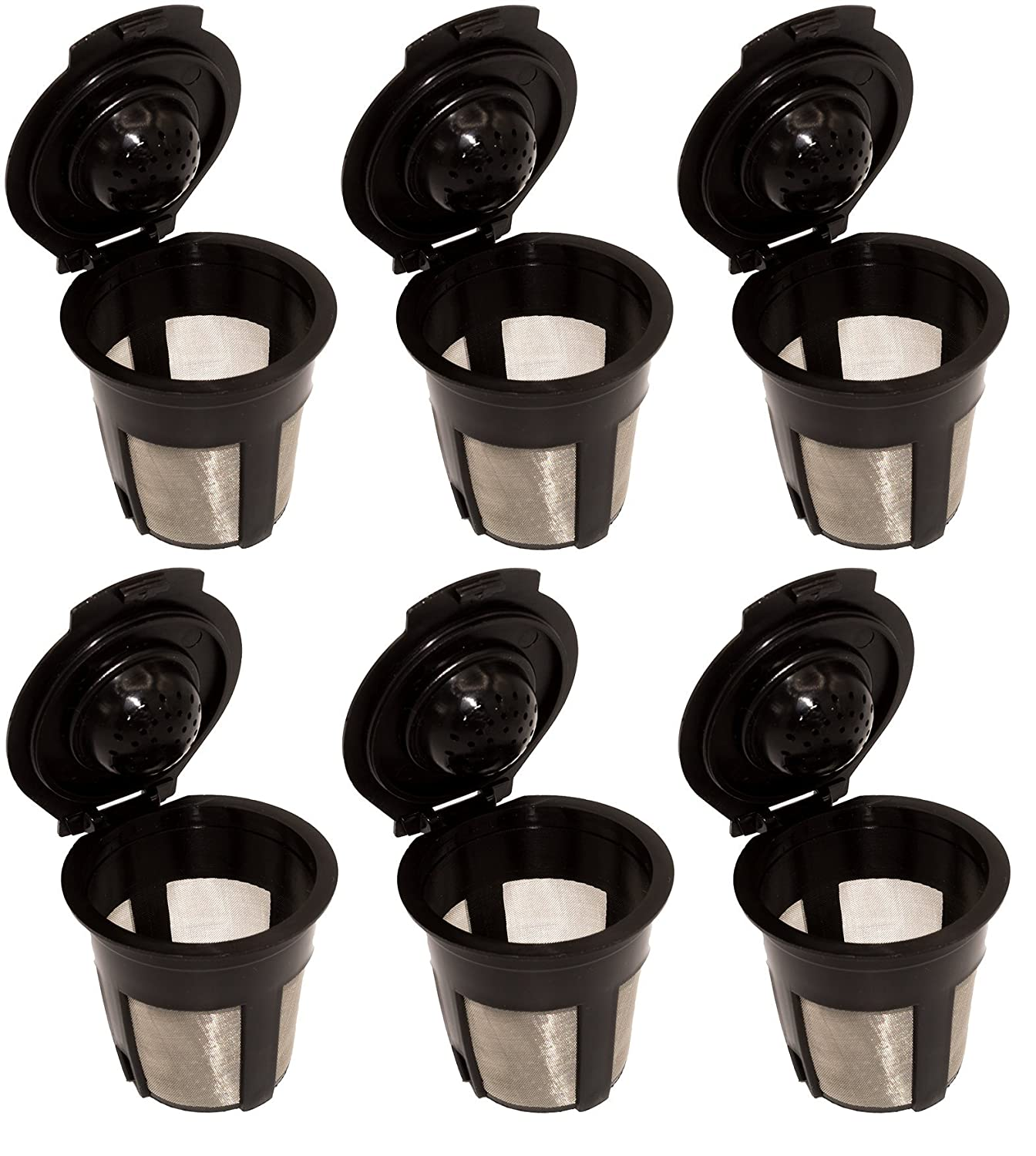 Blendin Single Reusable Refillable Coffee Filter Pod,Compatible with Keurig B40, B41, B44, B45, B50, B60, B65, B70, B75, B77, B79, K10, K40, K45, K50, K55, K60, K65, K70, K75, K77, K79 (6 Pack)