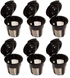 Blendin Single Reusable Refillable Coffee Filter Pod,Compatible with Keurig B40, B41, B44, B45, B50, B60, B65, B70, B75, B77, B79, K10, K40, K45, K50, K55, K60, K65, K70, K75, K77, K79 (6 Pack)