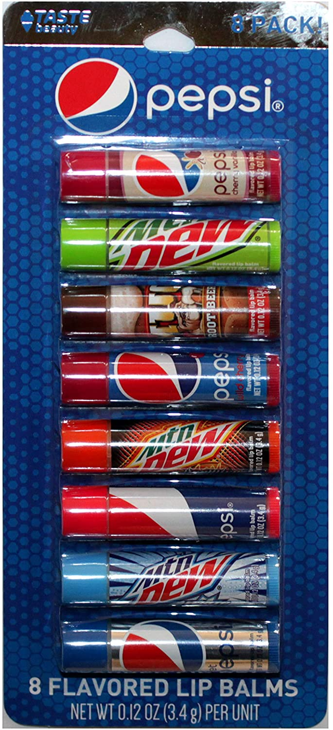 Taste Beauty (1) Party Pack Pepsi - 8pc Soda Flavored Lip Balm Sticks - Flavors: Cherry Vanilla, Mountain Dew, Mug Root Beer, Wild Cherry, Livewire, White Out, Diet - Net Wt. 0.12 oz Each Stick