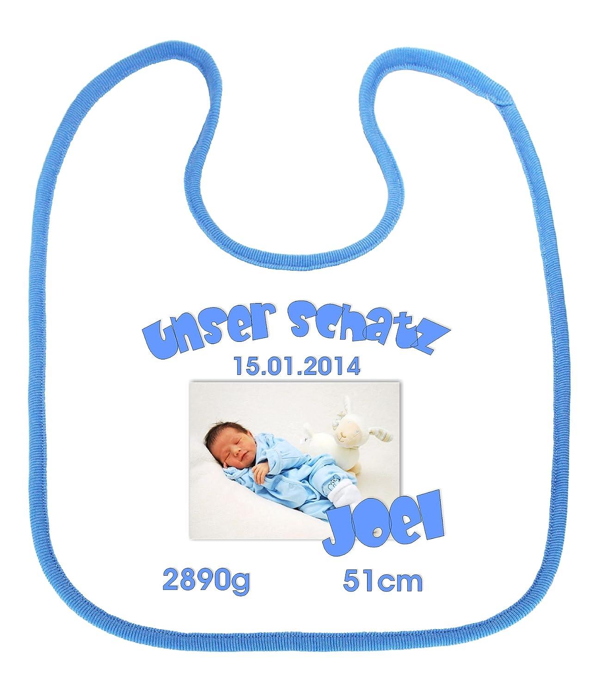 bedrucktes Babylätzchen für Jungen - MotivUnser Schatz mit Foto mit Wunschangaben in 3 Farben