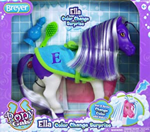"""Breyer Color Changing Bath Toy, Ella the Horse, Purple / White with Surprise Pink Color, 7"""" x 7.5"""""""