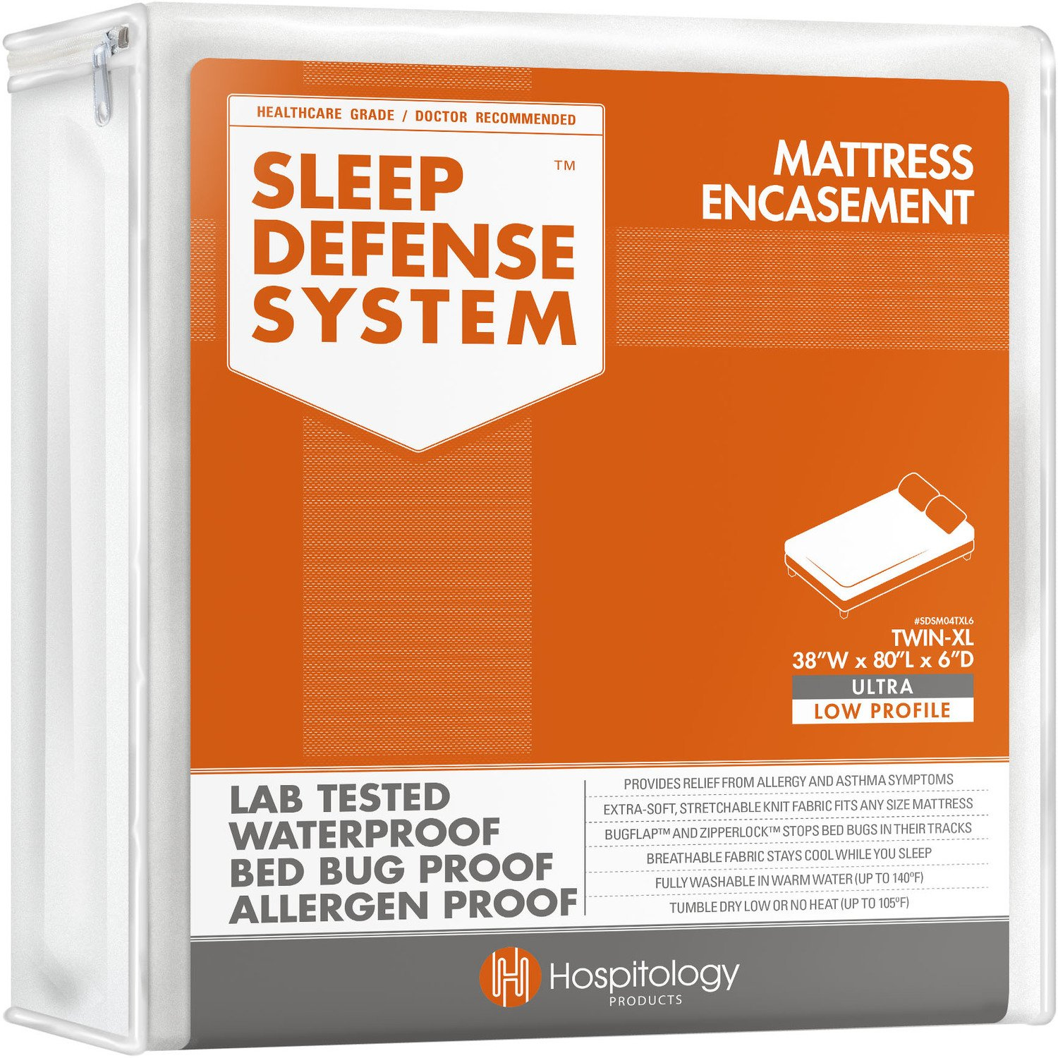 HOSPITOLOGY PRODUCTS Sleep Defense System - Zippered Mattress Encasement - Twin XL - Hypoallergenic - Waterproof - Bed Bug & Dust Mite Proof - Stretchable - Ultra Low Profile 6'' Depth - 38'' W x 80'' L