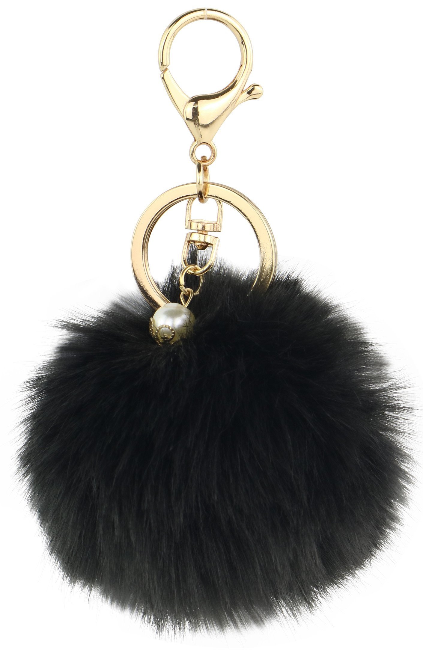 Galleon - Key Chain Accessories For Women - Black Faux Fur Ball Charm And  Artificial Pearl With Key Ring d4144d028