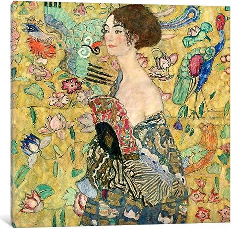 Original Art Work Mixed Media on Canvas Gustav Klimt Inspired 5 x 7 inches