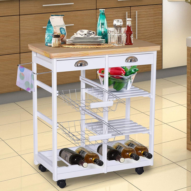 HOMCOM Küchenwagen Küchenrollwagen Servierwagen mit Korb Korb Korb Schublade Weinablage rollbar Holz weiß 74 x 37 x 76 cm dedf39