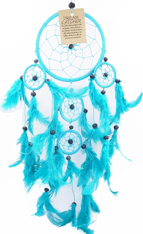 Attrape R/êve Bleu Turquoise Capteur de r/êves Grand Attrapeur Pi/ège Dreamcatcher Dream Catcher Plumes Suspension 48 cm blue turkish