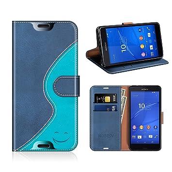 Mobesv Smiley Funda de piel / Carcasa Wallet para Sony Xperia Z3 Compact, Azul Oscuro/Aqua