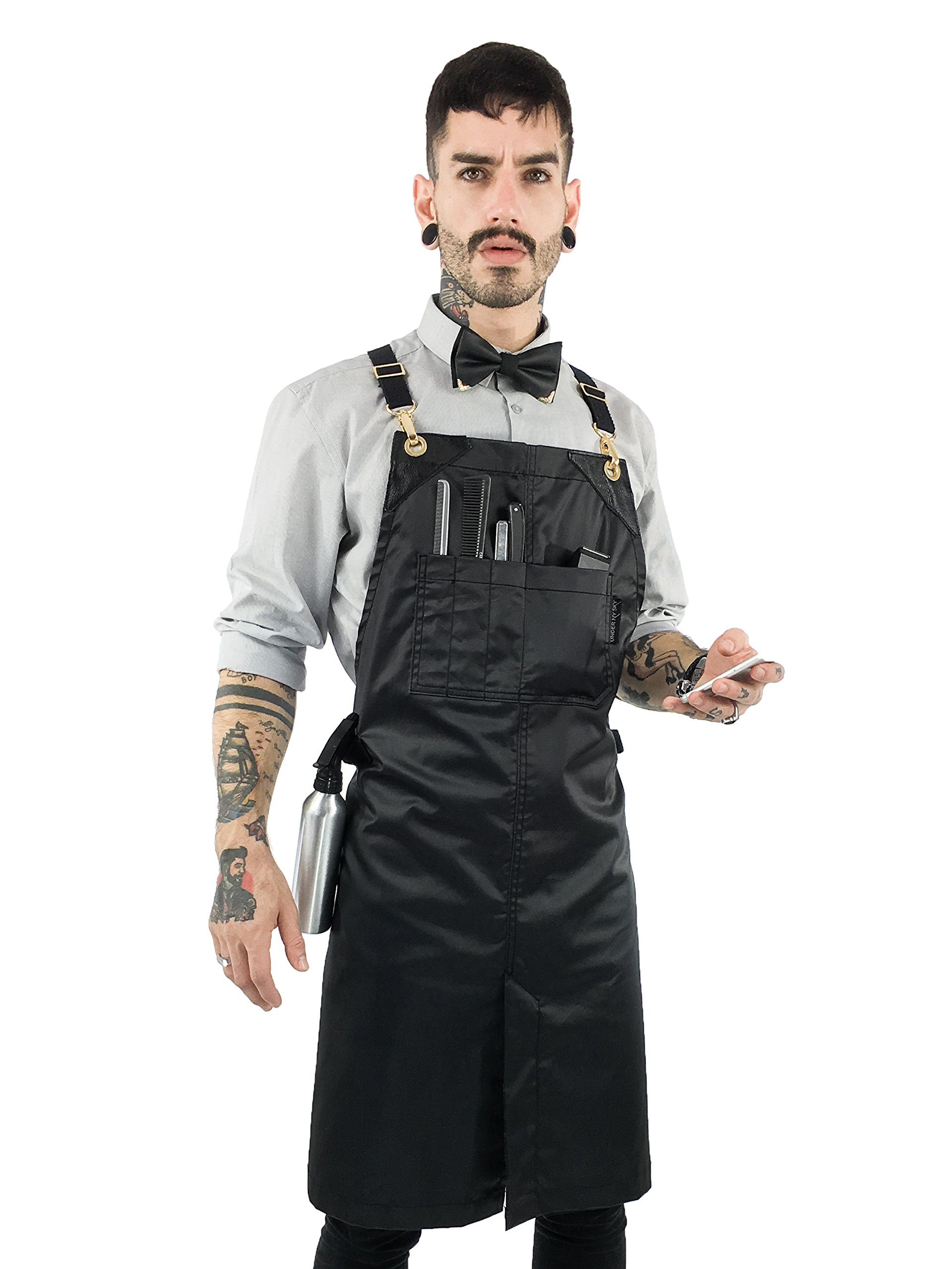 Under NY Sky Cross-Back Barber Jet Black Apron – Golden Hardware with Durable Coated Twill, Leather Reinforcement and Split-Leg – Adjustable, Men and Women, Pro Hair Stylist, Tattoo, Salon Aprons