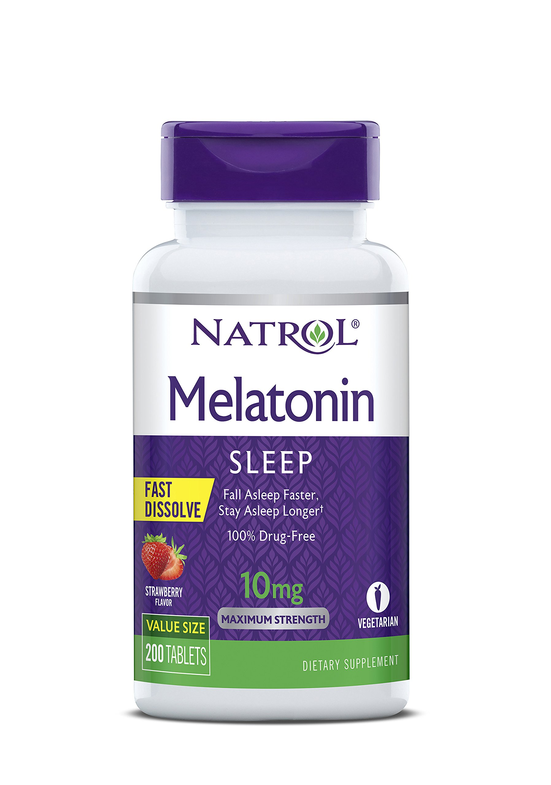 Natrol Melatonin Fast Dissolve Tablets, Strawberry Flavor, 10mg, 200 Count