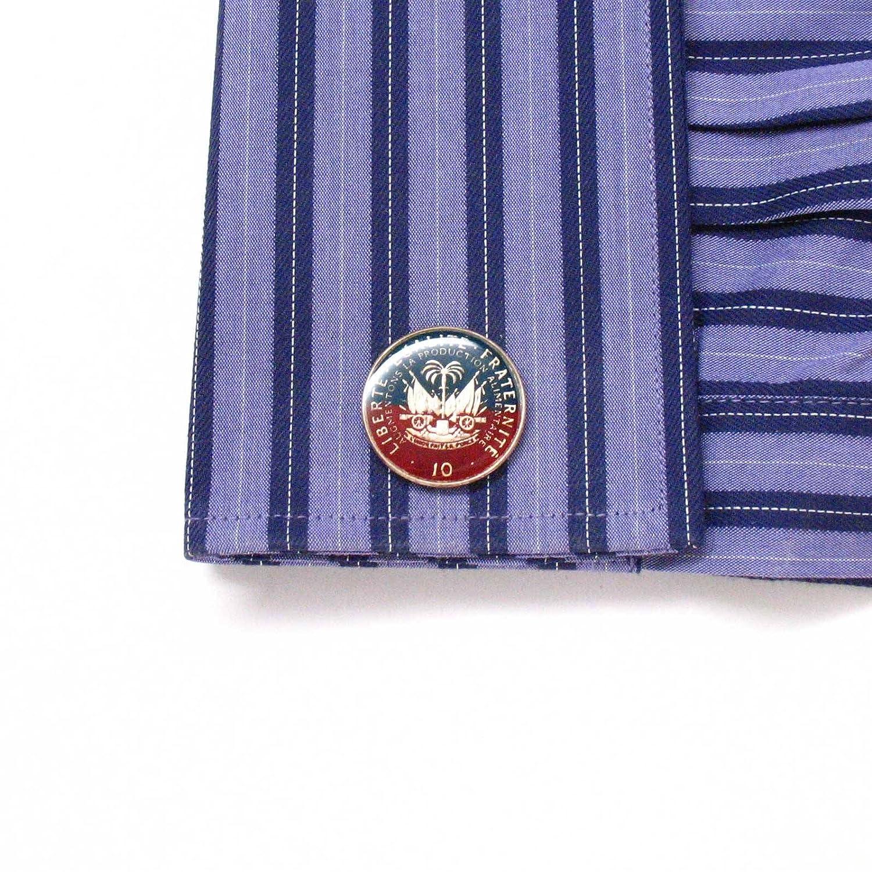 The Traveling Penny Haiti Coin Cufflinks Cuff Links Flag Suit Haitian Creole Boutons de manchette bijoux Port-au-Prince Bijou Ayiti Carrefour Delmas