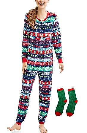 elf buddy the womens ugly christmas sweater fleece pajama with drop seat union suit sleepwear w - Elf Christmas Pajamas