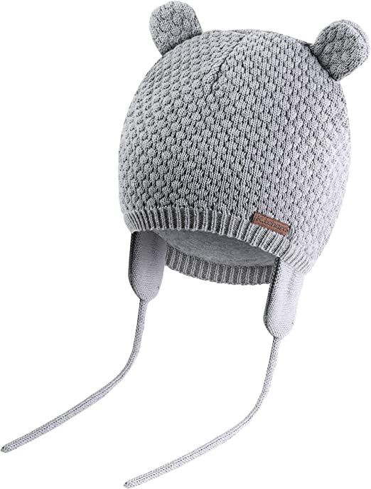 Baby Autumn Winter Hat Cute Bear Beanie Warm Knit Hat Soft Caps with Earflaps