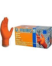 Ammex GLOVEWORKS HD Industrial Orange Nitrile Gloves - 8 mil, Latex Free, Powder Free, Diamond Texture, Disposable, Heavy Duty, Large, GWON46100-BX, Box of 100