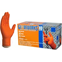 Deals on 100-Pk GLOVEWORKS HD Industrial Orange Nitrile Gloves 8 mil