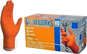 GLOVEWORKS HD Industrial Orange Nitrile Gloves - 8 mil, Latex Free, Powder Free, Diamond Texture, Disposable, Heavy Duty, Medium, GWON44100-BX, Box of 100