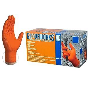 GLOVEWORKS HD Industrial Orange Nitrile Gloves - 8 mil, Latex Free, Powder Free, Diamond Texture, Disposable, Heavy Duty, XXLarge, GWON49100-BX, Box of 100