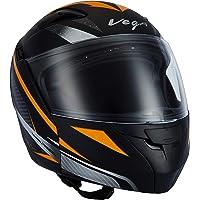 Vega Boolean Drift Dull Black Orange Flip-up Helmet-M
