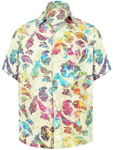 abcda8e92 LA LEELA botón de la Camisa Hawaiana de los Hombres de la Hoja de impresión  de algodón hacia Abajo  Amazon.es  Ropa y accesorios