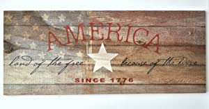 America Land Of The Free Because Of The Brave Rustic Wood Wall Sign 9x22