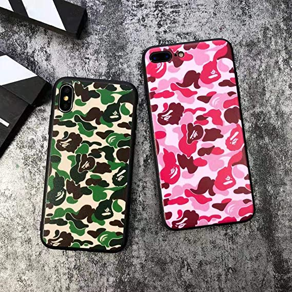 buy online 5993d c343b High Fashion Camo Print Hardshell Silicone Case for iPhone 7/7 Plus/iPhone  8/8 Plus/iPhone X/Xs/Xs Max/XR with Matte Finish Bape Supreme Hypebeast ...