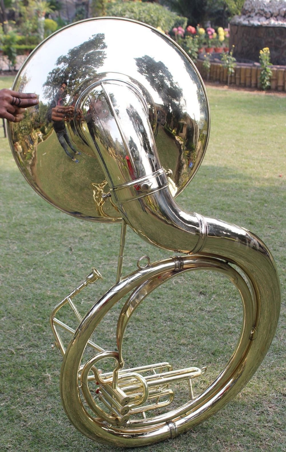 INDIAN HANDMADE BRASS FINISH SOUSAPHONE BRASS MADE TUBA MOUTH PIECE WITH CARRY BAG 25''