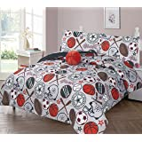 GorgeousHomeLinen Kids 6pc Silver Orange Basketball All Sports Varsity Champions Twin Bed in Bag Comforter with Matching…