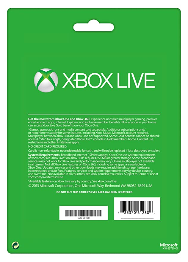 Xbox Live Gold 3 Month Membership Card (Xbox One/360) [Importación ...