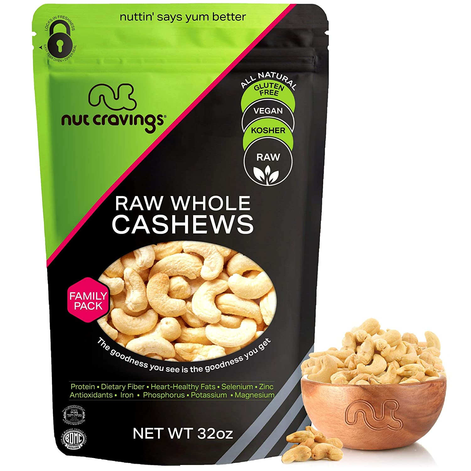 Raw Whole Cashews - Unsalted, Superior to Organic (32oz - 2 Pound) Packed Fresh in Resealable Bag - Nut Trail Mix Snack - Healthy Protien Food, All Natural, Keto Friendly, Vegan, Kosher