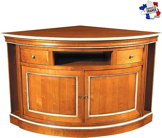 GONTIER - Mueble de TV esquinero con almacenamiento lateral – 100% fabricado en Francia, Merisier Blond et Laque Blanc Crème, 99x85x99: Amazon.es: Hogar