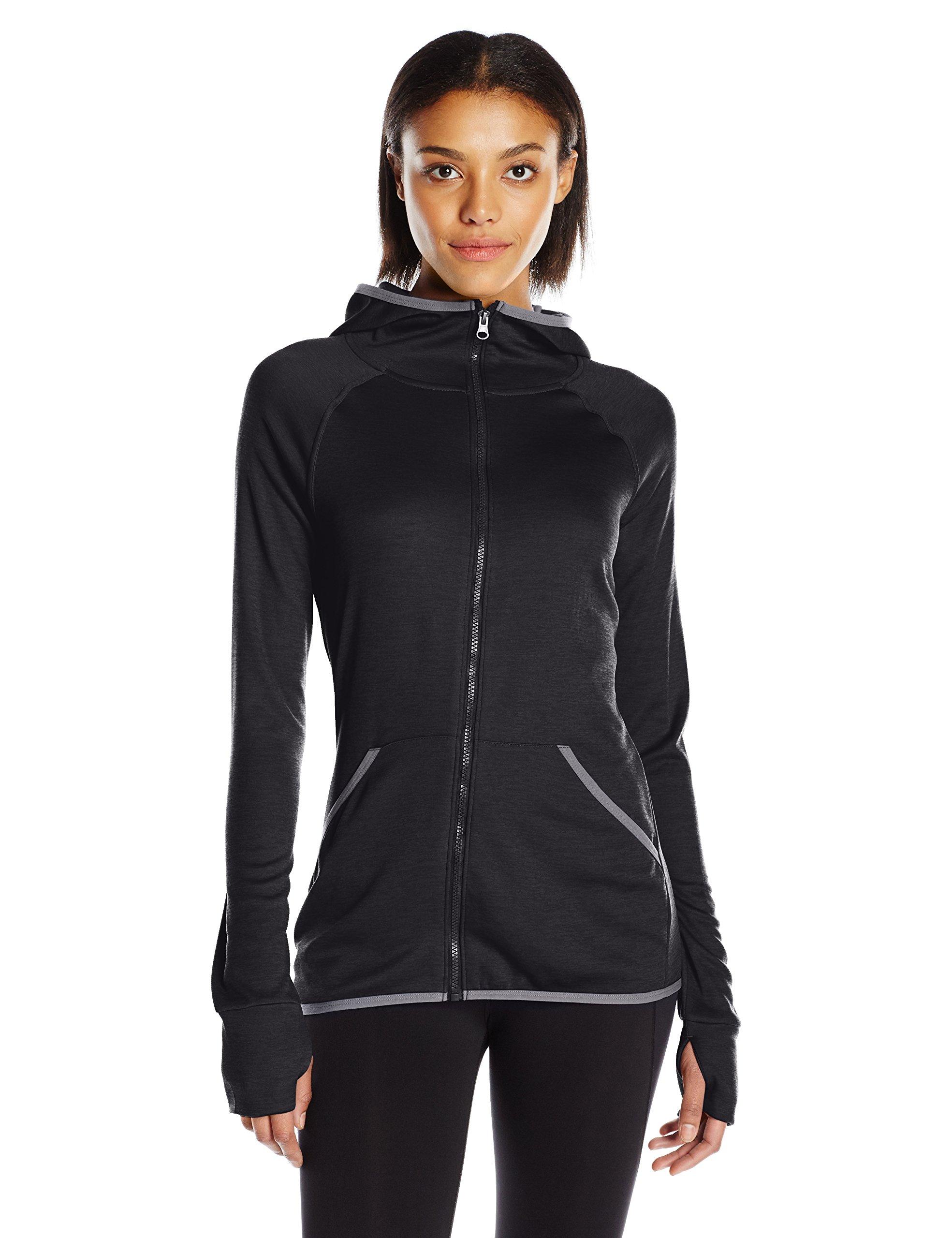 Hanes Women's Sport Performance Fleece Full Zip Hoodie, Black Heather/Dada Grey Binding, M