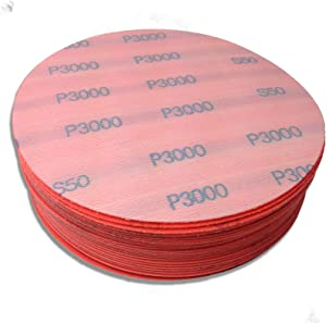 Red Label Abrasives 6 Inch 3000 Grit High Performance Hook and Loop Wet/Dry Auto Body Film Sanding Discs, 50 Pack