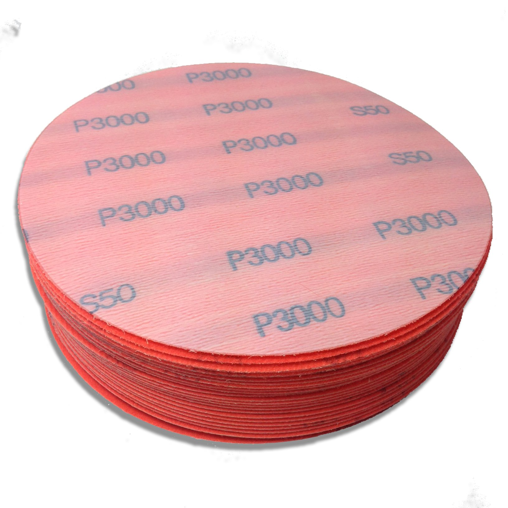 6 Inch 3000 Grit High Performance Hook and Loop Wet/Dry Auto Body Film Sanding Discs, 50 Pack by Red Label Abrasives