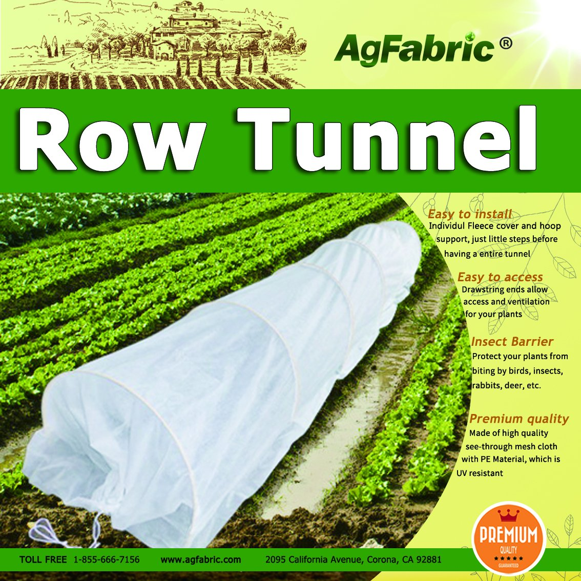 20FT Long Agfabric Grow Tunnel,Mini Greenhouse,Hoophouse,Tunnel Kits, 0 9oz  Row Cover and Tunnel Hoops,Plant Cover &Frost Blanket for Season Extension