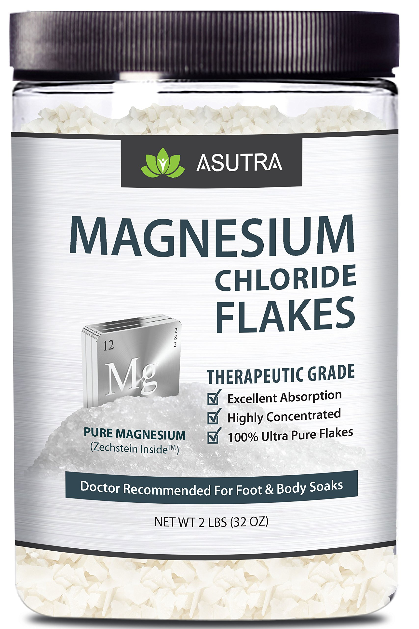Pure Zechstein Magnesium Chloride Flakes - Doctor Recommended For Foot & Body Soaks + FREE Magnesium E-Book (one 2lb jar)