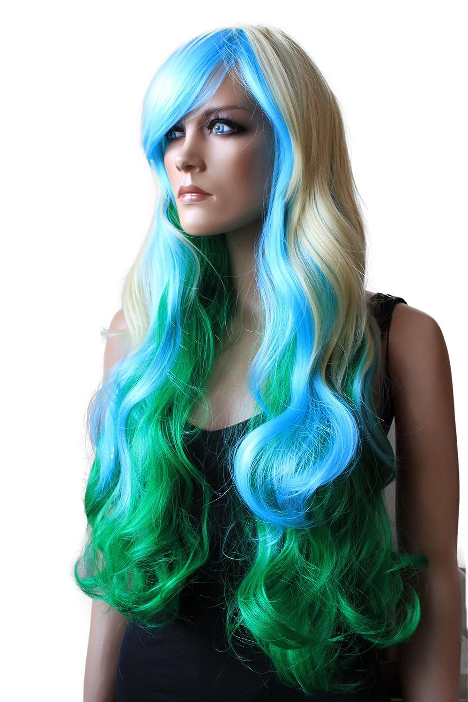 PRETTYSHOP Peluca de pelo largo rizado de fibra sintética resistente al calor la menta verde CP5