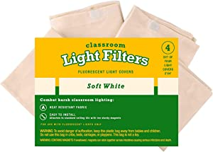 Fluorescent Light Diffuser Covers (Set of 4) Filters Light for Classrooms and Offices - Flame-Retardant Fabric (Soft White)