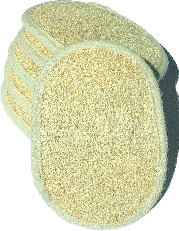 6 pcs/set 3.5×5 Natural Exfoliating Face Pad Loofah Sponge Facial Brush - Shower Scrubber - Body Bath Spa For Men & Women, Renewable Resource (Front 100% Loofah + Back 100% Cotton Terry) Pack of 6 Mr.Cui'shop