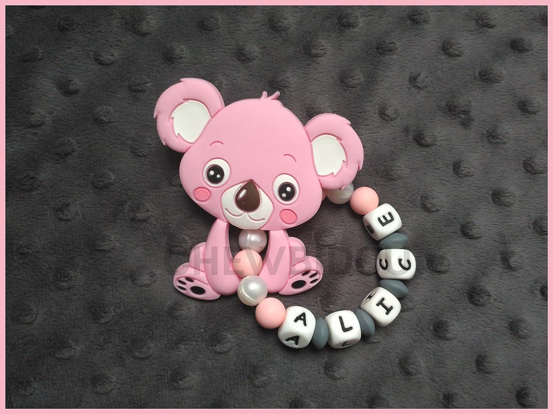 Hochet de dentition personnalisé 100% silicone - jouet de dentition Koala