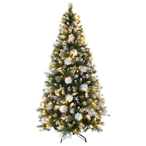How To Put Lights On A Christmas Tree.Mr Crimbo 7ft Pre Lit Decorated Artificial Christmas Tree Led Lights Frosted Tips