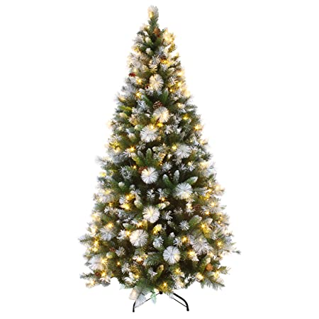 mr crimbo 7ft luxury pre lit decorated artificial christmas tree led lights frosted tips - Decorated Artificial Christmas Trees