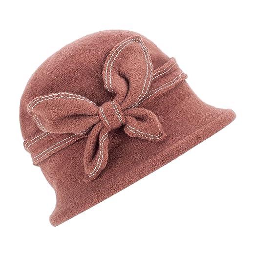 ae891b5c43fd2 1920s Gatsby Womens Wool Warm Beanie Bow Hat Cap Crushable A286 (Brown)
