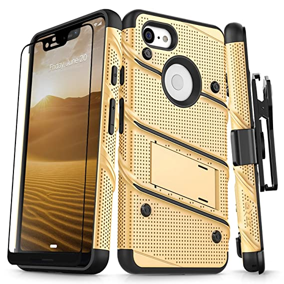 new concept 5475d 30652 Zizo Bolt Series Compatible with Google Pixel 3 XL Case Military Grade Drop  Tested with Full Glass Screen Protector Holster and Kickstand Gold Black