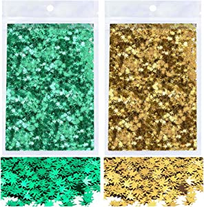 40 Grams Weed Leaf Confetti, Acejoz 2 Bags Marijuana Leaf Glitter Includes Green and Gold Leaf Glitter for Resin, Beauty Make Up, Weed Nail Art and DIY Decoration
