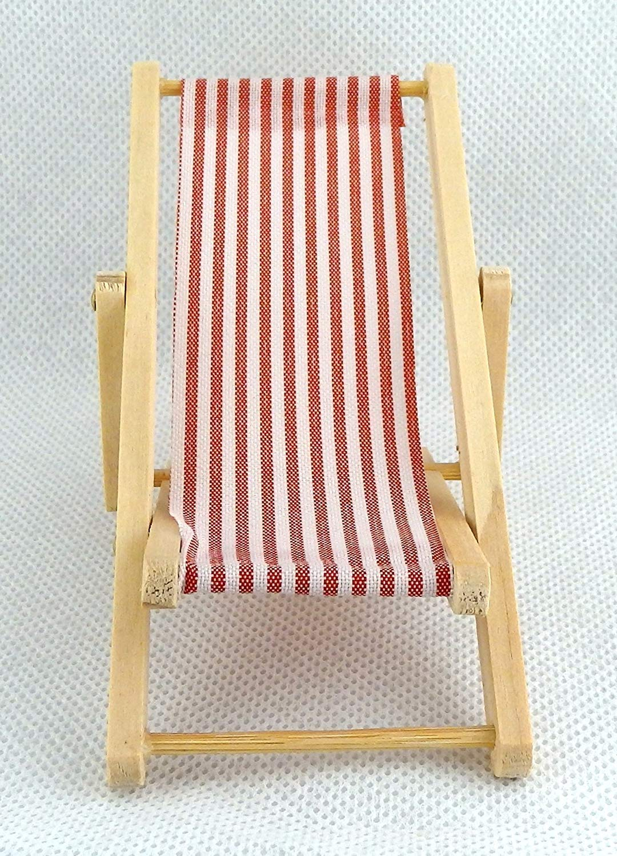 Melody Jane Dolls House Miniature 1:12 Red Stripe Folding Deck Chair Beach