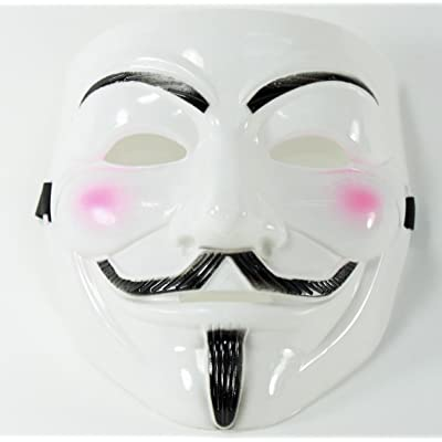 We pay your sales tax V for Vendetta Guy Fawkes Anonymous Halloween Costume Mask White: Clothing
