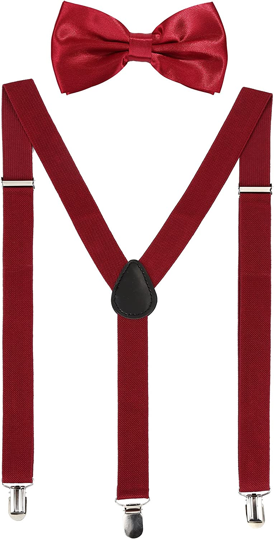 Suspender Bow Tie Set Clip On Y Shape Adjustable Braces, 80s Costume Suspenders Shoulder Straps for Halloween Cosplay Party