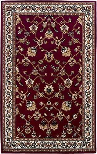 Blue Nile Mills Shalimar Indoor Area Rug, Floral Trellis Pattern, Palmette Motifs, Super Soft, Durable, Elegant, Oriental, Traditional, Contemporary Style, Jute Backing, Red, 8 x 10