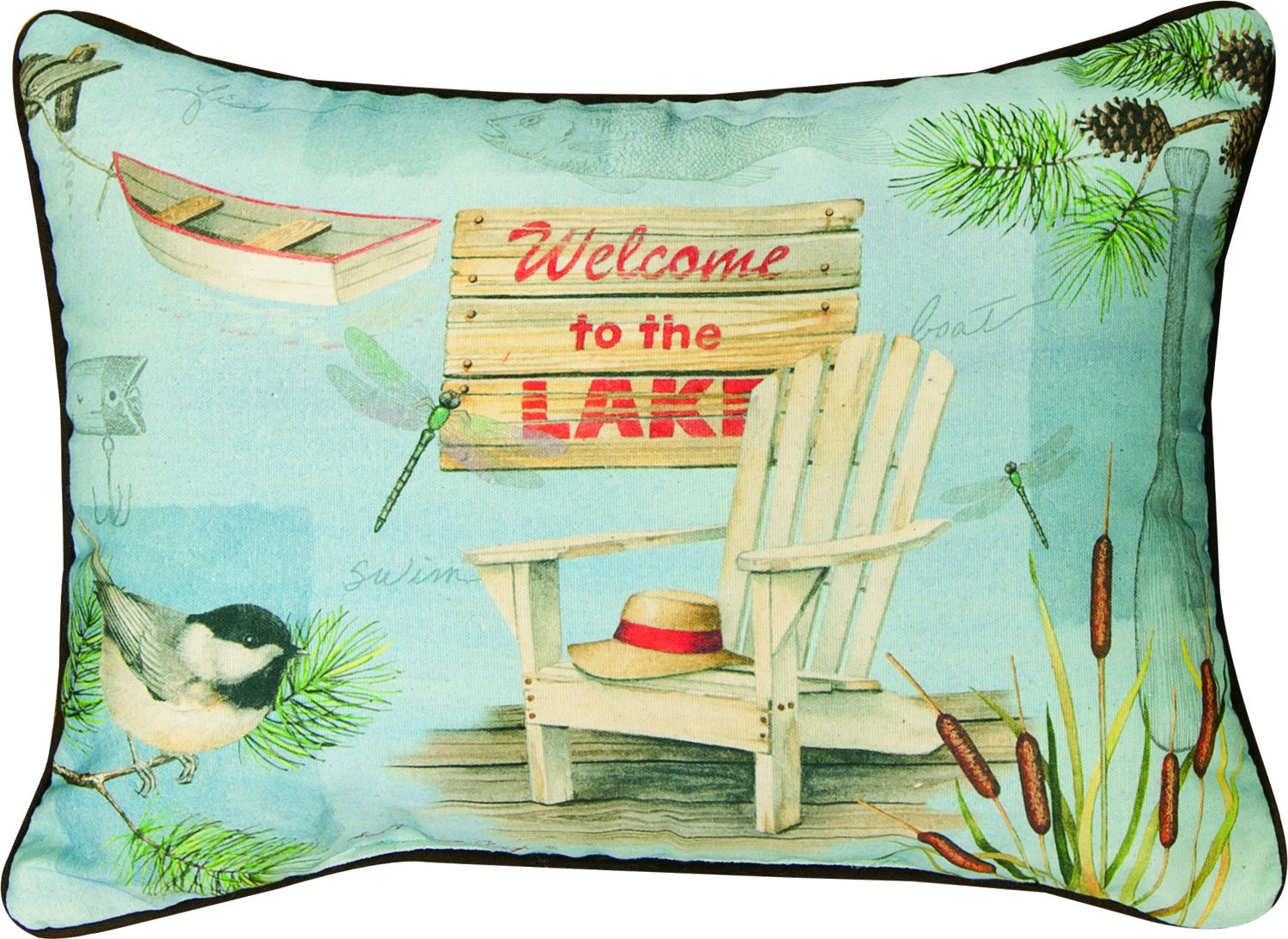 "Manual Woodworkers & Weavers Throw Pillow, 18 x 13"", Lake Time Welcome to The Lake"